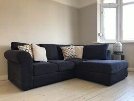 Corner Sofa in Charcoal Grey, right hand facing.