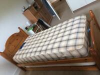 Single pine bed + truckle bed + mattresses