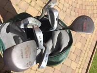 Golf clubs on carry bag.