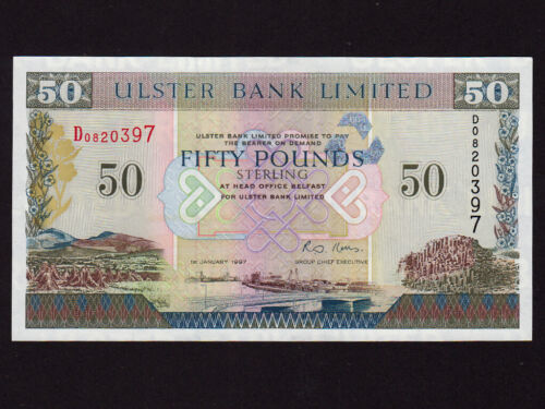 Northern Ireland:P-338,50 Pounds,1997 * Ulster Bank * UNC *