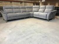 BRAND NEW FABB SOFAS LARGE CORNER ELECTRIC POWER RECLINER GREY FABRIC CLOTH GRAY 6-7 SEATER MODULAR