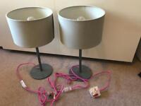 2 x John Lewis grey and pink lamps