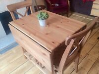 Solid wood folding dining table and chairs, seats 2 - 4. From IKEA