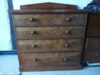 19c Mahogany 4 drawer chest, good condition
