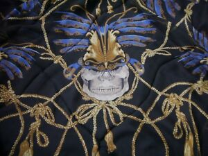 Alexander-Shawl-skull-feather-100-silk-Black-scarf-Mcqueen-NWOT
