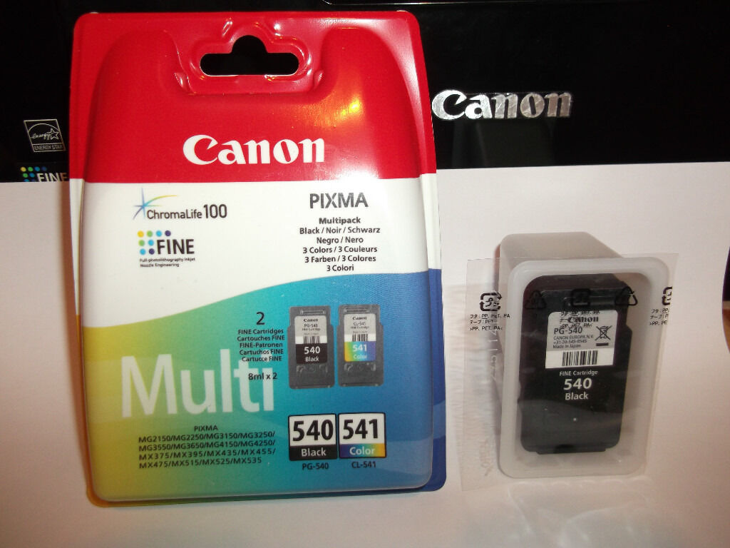 Original Canon PG 540 + CL 541 2 X Black + Colour Ink Cartridges MG3150 + more
