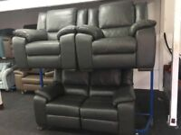New/Ex Display LazyBoy Finchley Slate Grey Leather Electric Recliners 2 + 1 + 1 Seater Sofas