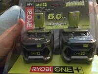 Ryobi battery 2x 5.0ah battery