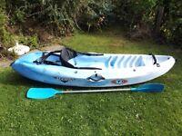 RTM Mambo kayak, RTM padded backrest and asymmetrical paddle