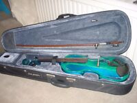 Electric Violin with Bow, Case, Aux cable, Spare Strings and Rosin.