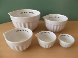 Crofton Set of 5 White Porcelain Measuring Bowls NEW aldi, baking, bakeware, cookware, kitchen