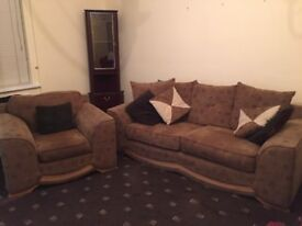 3 seater sofa and chair for sale. Brown fabric and good condition. £150 o.n.o