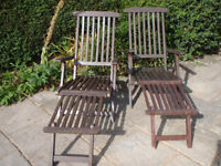 Two Wooden Garden Steamer Chairs with footrest