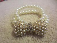 BEAUTIFUL PEARL AND GOLD BRACELET AND HEADBAND SET