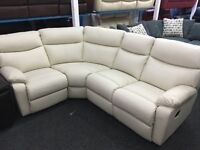 New/Ex Display LazyBoy Cream/White Leather Group Recliner Sofa (Left or Right Corner)