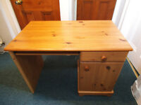 Solid pine desk with keyboard shelf, cupboard and drawer (Free)