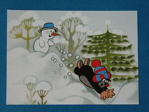 postkarte kleine maulwurf pauli rutscht im schnee. Black Bedroom Furniture Sets. Home Design Ideas