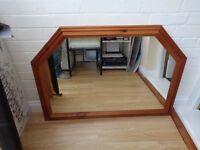 Pine surround wall mounted mirror