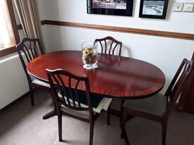Extended dining table & 4 chairs