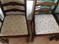 4 quality kitchen chairs with handmade cushion covers