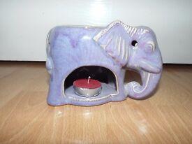 Lovely ceramic lilac-coloured elephant oil-burner
