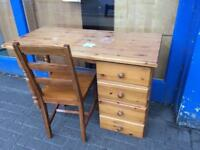 Pine Desk with Drawers