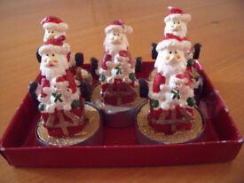 NEW 5 Santa tea lights - ideal for decorating the house this Christmas! £3.50 ovno lot.