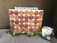 Wedding and event chair cover Centerpiece donut wall candy cart hire and more. Chair covers from £1