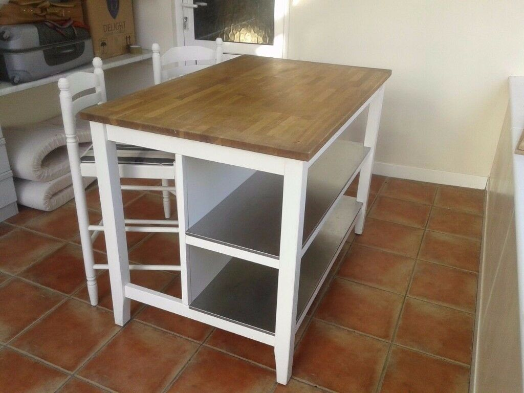 Ikea Stenstorp Kitchen Island Unit 2 Bar Chairs In