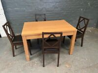 NICE WOODEN DINING TABLE WITH 4 CHAIRS IN GOOD CONDITION 99 POUND FREE DELIVERY