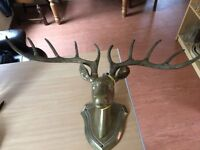 LARGE BRASS STAG HEAD FOR WALL HANGING