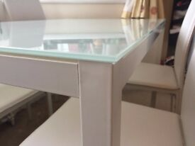 SOLD! Beautiful Ikea White Glass Dining Table with 4 chairs - Great Condition