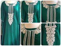 Brand new Green Full length Kaftan style Farasha with Pearl beadings