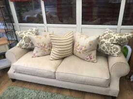 Beige 3 seater and 2 seater sofas