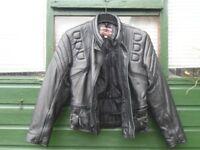Skinton black leather motorcycle jacket and Akaso leather trousers