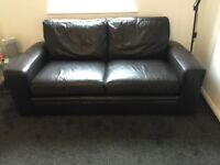 NEXT LEATHER DARK BROWN 2 SEATER SOFA