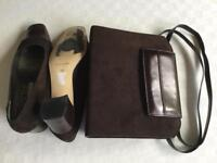 Roland Cartier brown leather and suede bag and shoes, size 5/38