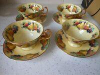 Tea Set Bat-wing Shape Cups Fruits Argyle