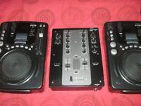 2 X DJ DECKS AND MIXER