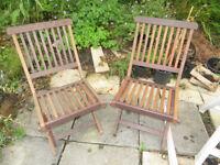wooden garden chairs, 2 x folding garden chairs
