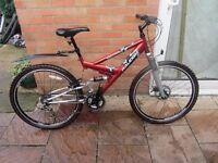 mens raleigh f/s mountain bike 17inch frame with bike lock £59.00