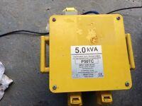 5 .0 kva 240v to 110volt transformer 2 x 16 amp 1 x32 amp outlets