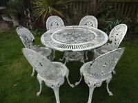 CAST ALUMINIUM GARDEN SET - TABLE AND 6 CHAIRS - CLASSIC VICTORIAN STYLE -