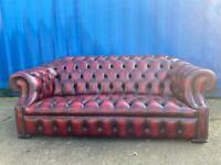 Beautiful Chesterfield Full Button, coil sprung Oxblood Leather 3 Seater Sofa