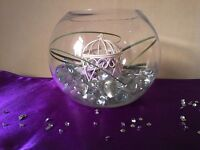 11 Glass Fishbowl Vases for Wedding/Party Decoration.