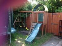 Plum climbing frame with slide and swings