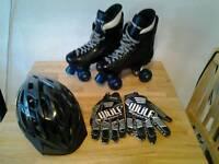 Ventro pro turbo quad roller skates helmet and gloves