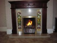 Marble Hearth and surround, inlaid tiles, timber mahogany mantle