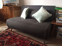 Nearly New Sofa Bed- Charcoal Grey with Wooden Legs