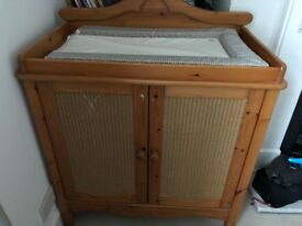 Wooden Changing Table/Dresser with storage underneath and changing mat